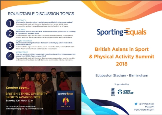 BRITISH ASIANS IN SPORT & PHYSICAL ACTIVITY SUMMIT (BASPA) 2018